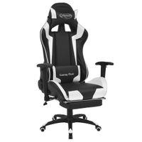 Fotel dla gracza podnóżek biała ekoskóra VidaXL