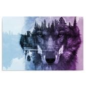 Obraz na płótnie - Canvas, Wilk na tle lasu - fioletowy 70x50