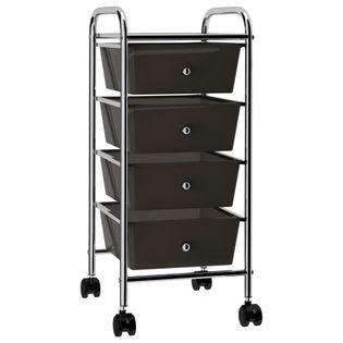 Wózek z 4 szufladami czarny plastikowy VidaXL