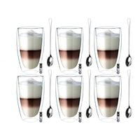 Zestaw Szklanek Termicznych Kawa Latte Herbata 380ml Łyżeczki 6 sztuk