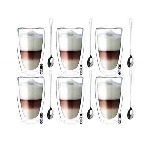 Szklanki Termiczne do Kawy Latte Herbaty 380ml z Łyżeczkami 6 sztuk na Arena.pl