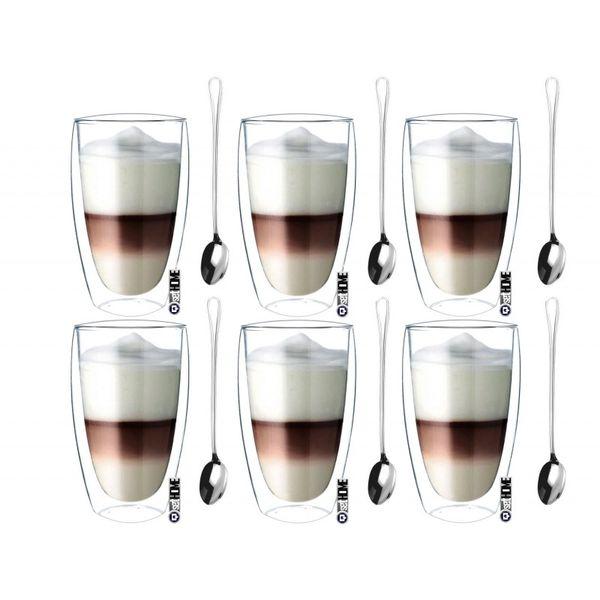 Zestaw Szklanek Termicznych Kawa Latte Herbata 380ml Łyżeczki 6 sztuk zdjęcie 1
