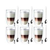 Szklanki Termiczne do Kawy Latte Herbaty 380ml z Łyżeczkami 6 sztuk
