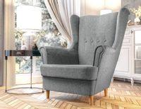 Fotel Skandynawski Uszak mocna tkanina sprężyny