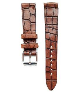 Pasek do zegarka 18mm skóra brązowy - krokodyl - polskie - Lamato