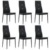 Krzesła ze sztucznej skóry, 6 szt., 43 x 43,5 x 96 cm, czarne