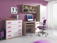 Zestaw mebli młodzieżowych komoda, biurko, półka, szafa SMYK 3