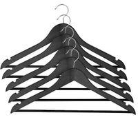 Wieszaki ubranie 5 szt. zestaw drewno czarne swe