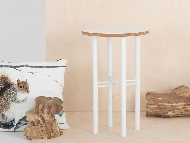 Stolik PENTO 40 - biały, biały, styl design skandynawski, kwietnik zdjęcie 5