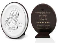 Obrazek srebrny Aniołek Chrzest GRAWER