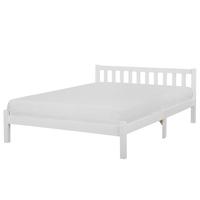 Łóżko Drewniane 160 X 200 Cm Białe Florac