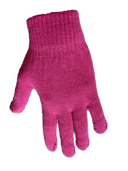 1 Kiddy rękawiczki 5-palczaste jednokolorowe ciemny róż zdjęcie 1