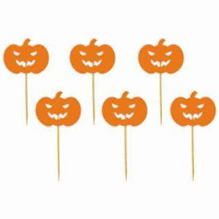 """Pikery """"Halloween Dynia"""", pomarańczowe, 6 szt"""