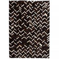 Dywan ze skóry, patchwork w jodełkę, 80 x 150 cm, czarno-biały