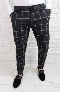 Grafitowe eleganckie meskie spodnie slim fit w biala krate 1473 - 36