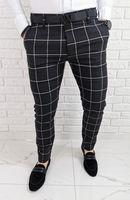 Grafitowe eleganckie meskie spodnie slim fit w biala krate 1473 - 34