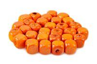 Drewniane koraliki KOSTKA 8x8mm pomarańcz 30szt.