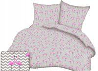 Pościel z kory 160x200 wzór flamingi + zygzak