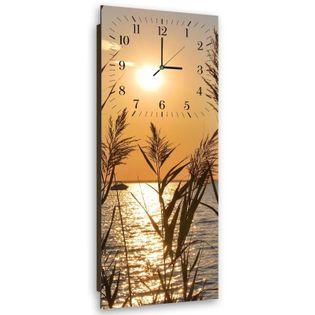 Obraz z zegarem, Trzciny o zachodzie słońca 25x65