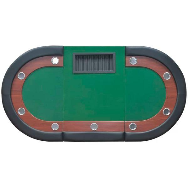 Stół do pokera dla 10 graczy z tacą na żetony, zielony zdjęcie 6