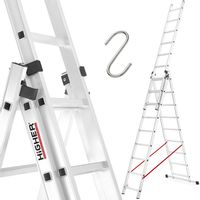 HIGHER Drabina aluminiowa 3x9 Professional + GRATIS