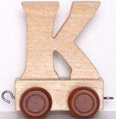Wagonik z literką K - LITERKA element z układanki ALFABET POCIĄG