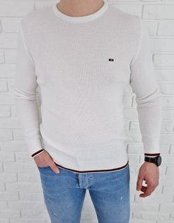 Biały pleciony sweter męski ozdobne obszycia 3606 - L