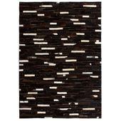 Dywan ze skóry, patchwork w paski, 120 x 170 cm, czarno-biały