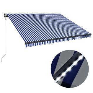 VidaXL Markiza z LED i czujnikiem wiatru, 450x300 cm, niebiesko-biała