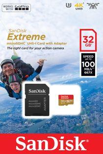 Karta pamięci SanDisk Extreme 32GB Class U3 Adapter SDSQXAF-032G-GN6AA