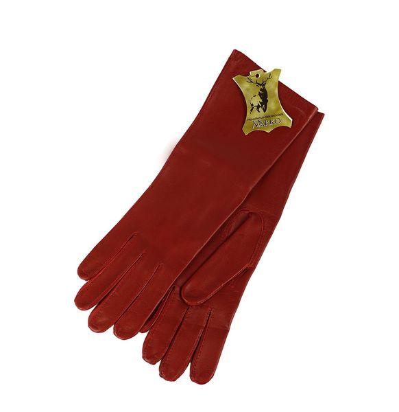 Czerwone rękawiczki ze skóry - długie. zdjęcie 3