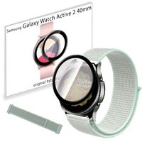 Pasek nylonowy opaska i szkło 3D do Samsung Galaxy Watch Active 2 40mm Teal Tint