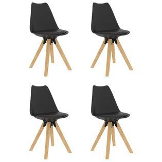 Krzesła stołowe, 4 szt., czarne, PP i lite drewno bukowe