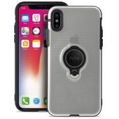 PURO Magnet Ring Cover - Etui z uchwytem na palec iPhone Xs / X przezroczysty