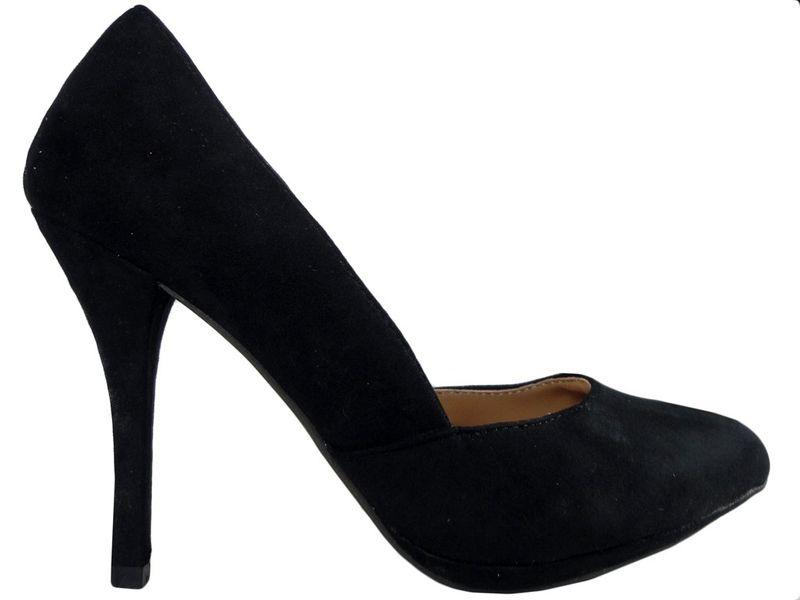 Czarne szpilki zamszowe buty damskie  37 zdjęcie 1
