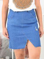 Jeansowa  spódnica strzępiona Rozmiar - 36, Kolor - Niebieski