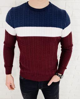 Trojkolorowy sweter meski 3629 Bordowy - L