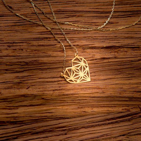 Złoty Naszyjnik Celebrytka Serce Origami Grawer zdjęcie 3