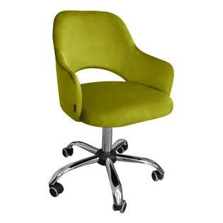 Fotel obrotowy MARCY / oliwkowy / noga chrom / BL75