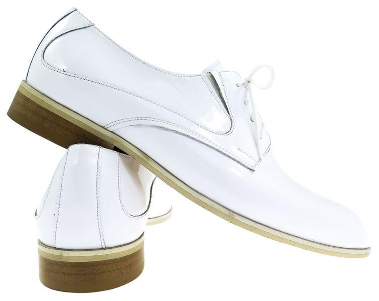 Unikalne białe lakierki męskie buty wizytowe T7 Rozmiar Obuwia Wybierz rozmiar