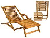 Leżak Ogrodowy Drewniany Składany + Podnóżek