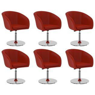 Krzesła stołowe, 6 szt., czerwone, sztuczna skóra