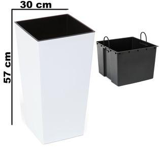 Doniczka wysoka z wkładem połysk Biały H 570 mm