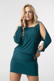 Dopasowana sukienka z błyszczącymi kryształkami i rozcięciami na rękawach - Zielony 48