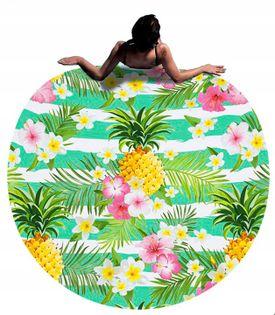 Ręcznik Plażowy Duży Ananas Okrągły Koc 150 cm