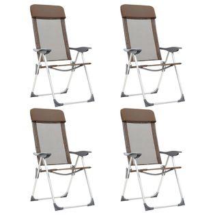 Składane Krzesła Turystyczne, 4 Szt., Brązowe, Aluminiowe