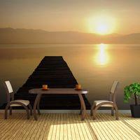 Fototapeta XXL - pomost, jezioro, zachód słońca... Rozmiar - 550x270