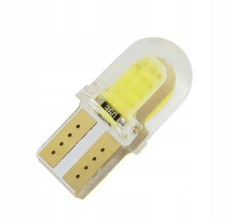 Mała T10 W5W żarówka cob 3W biała zimna silikon