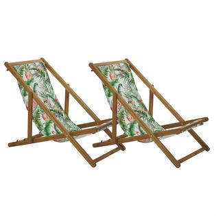 Zestaw 2 leżaków ogrodowych jasne drewno akacjowe wzór we flamingi ANZIO