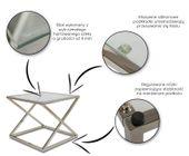 Stoliczek kawowy kwadratowy szkło 8mm chrom ława zdjęcie 3